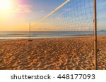 Volleyball Net On The Beach On...