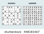 vector sudoku with answer.... | Shutterstock .eps vector #448181467