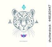 leopard. ethnic american indian ... | Shutterstock .eps vector #448183447