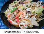spicy noddles with seafood and... | Shutterstock . vector #448203907