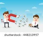 demon businessman using huge... | Shutterstock .eps vector #448213957