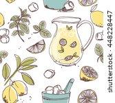 mint lemonade seamless pattern | Shutterstock .eps vector #448228447