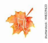 orange watercolor autumn maple... | Shutterstock . vector #448229623
