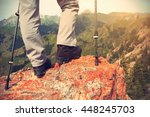 Successful Woman Hiker Hiking...