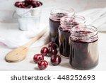 jars with freshly homemade... | Shutterstock . vector #448252693