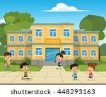 school building and children in