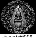 norse god odin with crows and... | Shutterstock . vector #448297357