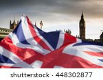 british union jack flag and big ... | Shutterstock . vector #448302877