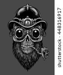 steampunk skull  in hat and... | Shutterstock . vector #448316917