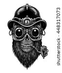 steampunk skull  in hat and... | Shutterstock . vector #448317073
