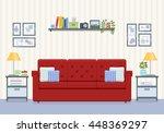 interior of living room in flat ... | Shutterstock .eps vector #448369297