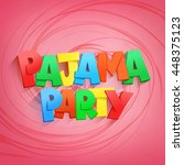 pajama party lettering title on ... | Shutterstock .eps vector #448375123