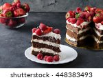 naked cake with cream ... | Shutterstock . vector #448383493