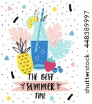 summer poster with lemonade.... | Shutterstock .eps vector #448389997