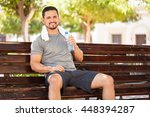 portrait of a happy young man...   Shutterstock . vector #448394287