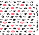 hand drawn eye  pink lips...