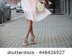 fashion woman walking with... | Shutterstock . vector #448426927