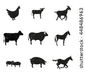 farm animals  set of silhouette ... | Shutterstock .eps vector #448486963