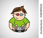 gamer playing in joystick icon... | Shutterstock .eps vector #448489033