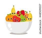 fruit platter with cute fruits. ...   Shutterstock .eps vector #448509037