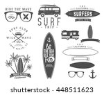 set of vintage surfing graphics ... | Shutterstock . vector #448511623