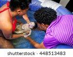 an african american couple... | Shutterstock . vector #448513483