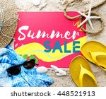 summer beach sandals words... | Shutterstock . vector #448521913