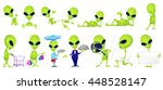 Set Of Green Aliens Posing Wit...