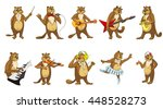 set of beavers playing music ... | Shutterstock .eps vector #448528273