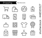 shopping thin line icons ... | Shutterstock .eps vector #448535527