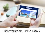 holiday reservation website... | Shutterstock . vector #448545577