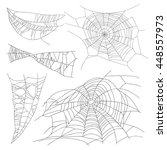 set of different spiderwebs on... | Shutterstock .eps vector #448557973