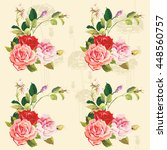 seamless floral pattern three... | Shutterstock .eps vector #448560757