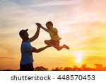 happy family. father and son... | Shutterstock . vector #448570453
