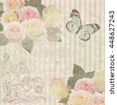 vintage background with roses... | Shutterstock .eps vector #448627243