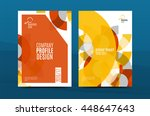 orange annual report a4 cover.... | Shutterstock .eps vector #448647643