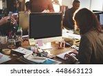 mockup copyspace computer... | Shutterstock . vector #448663123