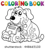 coloring book dog with... | Shutterstock .eps vector #448665133