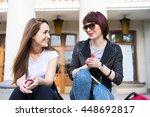two attractive women friends... | Shutterstock . vector #448692817