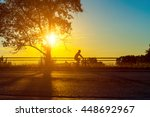 empty city road with rider... | Shutterstock . vector #448692967
