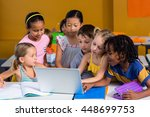 cute children using laptop in... | Shutterstock . vector #448699753