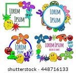 set of funny monsters logos... | Shutterstock .eps vector #448716133