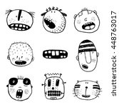 doodle heads and outline... | Shutterstock .eps vector #448763017