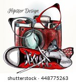 fashion hipster background with ... | Shutterstock .eps vector #448775263