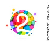 number 2 logo with rainbow dots.... | Shutterstock .eps vector #448790767