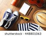 musician set on brown wooden... | Shutterstock . vector #448801063