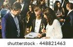 business meeting eating cheers... | Shutterstock . vector #448821463