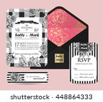 monochrome invitation set with... | Shutterstock .eps vector #448864333
