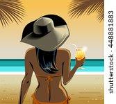 elegant tan  dark skin  woman... | Shutterstock .eps vector #448881883