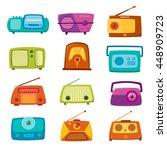 vintage radio isolated on white ... | Shutterstock .eps vector #448909723